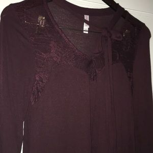 Maroon Long Sleeved Lace Top